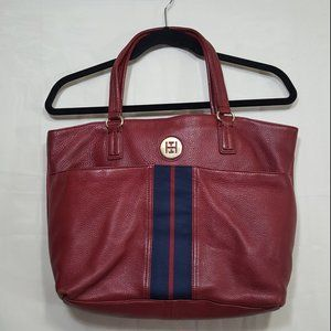 Tommy Hilfiger 100% leather tote bag burgundy